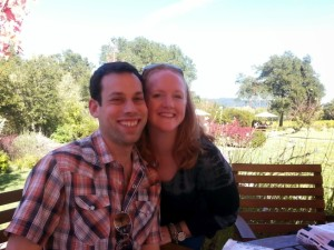 Me and Hubs at Lambert Bridge Winery. Not pictured: Chaos.