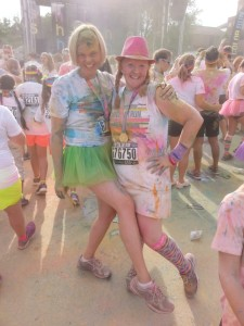 Color Run with my longtime buddy Nan - Asheville, NC, July 2015