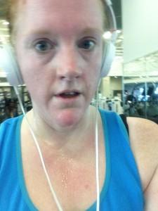 Treadmill selfie: Here I am, glistening like a FREAKING CHAMP.