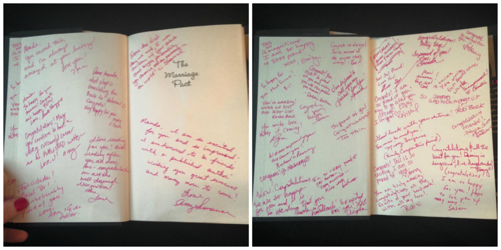 We decided to flip the whole autographed book thing a bit: I made friends and family sign MY copy too!