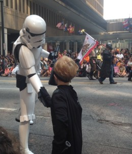 "Picture of the author's son Skywalker in a Darth Vader costume shaking hands with a Stormtrooper with the caption ""Thanks, Lord Vader, for creating those awesome laser gates. And we really appreciate the easy-to-read technical manual."""