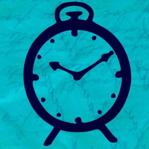 Writing on Blue Background with Clock Overlay - Blog about Writing Goals for 2016