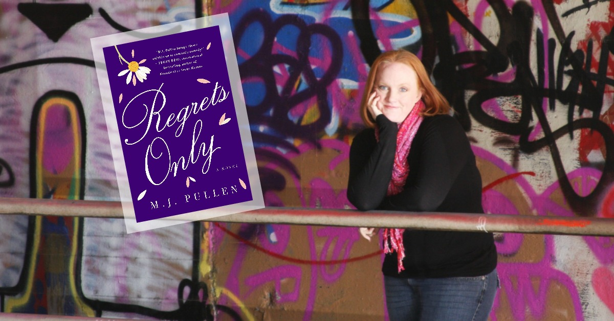 The author in front of a wall of graffiti with an inset of her book, REGRETS ONLY