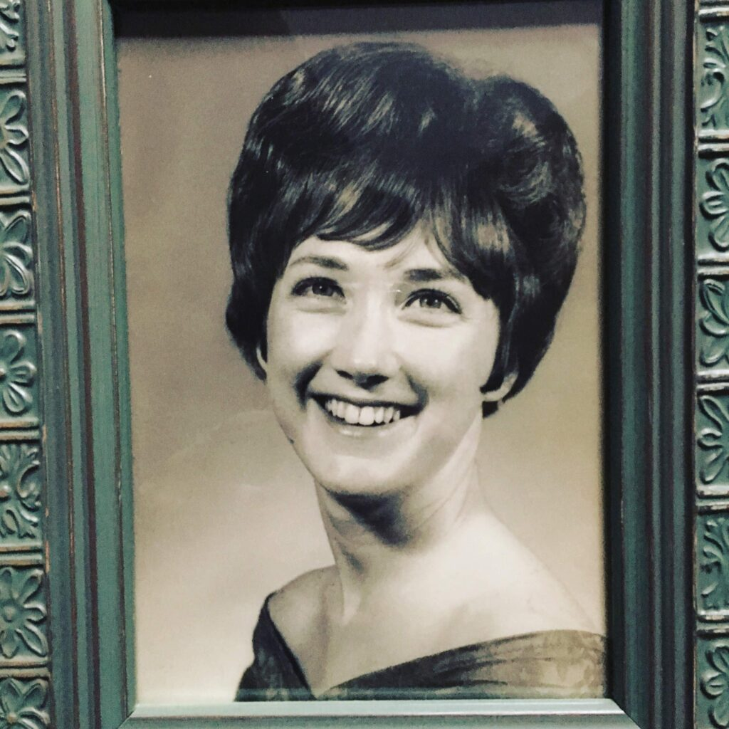 Photograph of the author's mother as a senior in high school. Pelham, GA 1966.